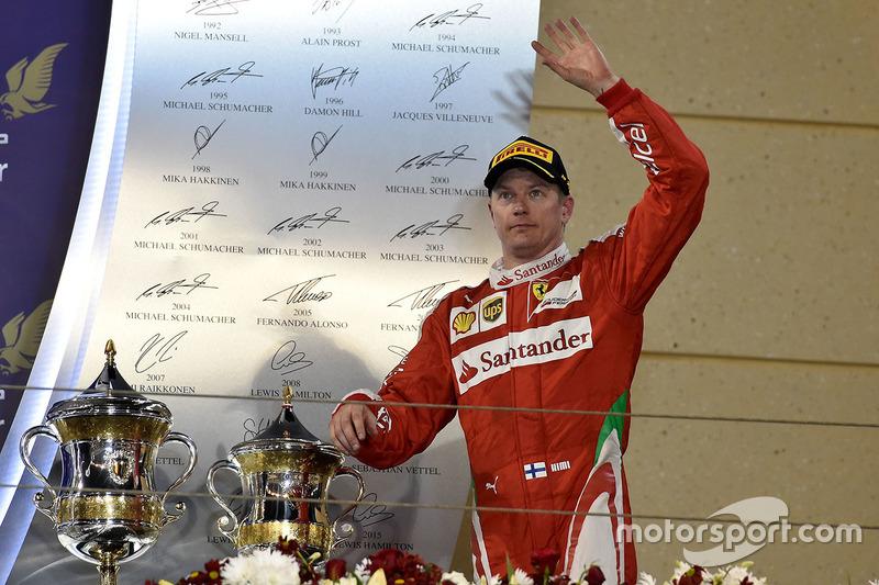 Kimi Raikkonen terminó ocho veces en el podio en Bahrein, pero nunca en primer lugar