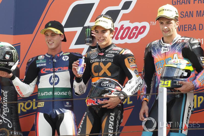 Podio: 1º Marc Márquez, 2º Pol Espargaró, 3º Andrea Iannone