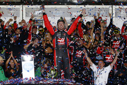 Kurt Busch, Stewart-Haas Racing Ford, celebrates his win in Victory Lane