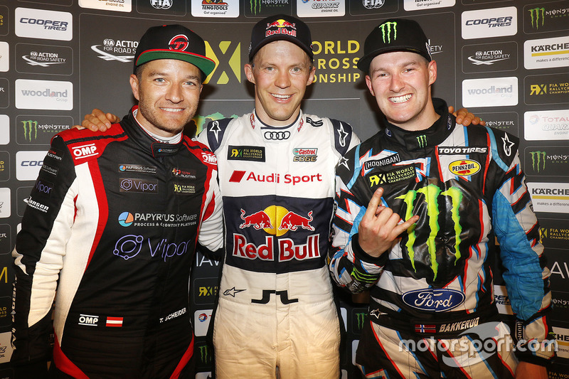 Podium: 1. Mattias Ekström, EKS RX; 2. Timo Scheider, MJP Racing Team Austria; 3. Andreas Bakkerud, Hoonigan Racing Division