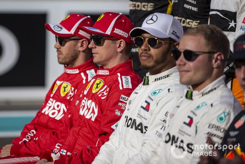 Sebastian Vettel, Ferrari, Kimi Raikkonen, Ferrari, Lewis Hamilton, Mercedes AMG F1 y Valtteri Bottas, Mercedes AMG F1 a¡¡en la foto de grupo