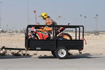 La moto incidentata di Jorge Lorenzo, Repsol Honda Team