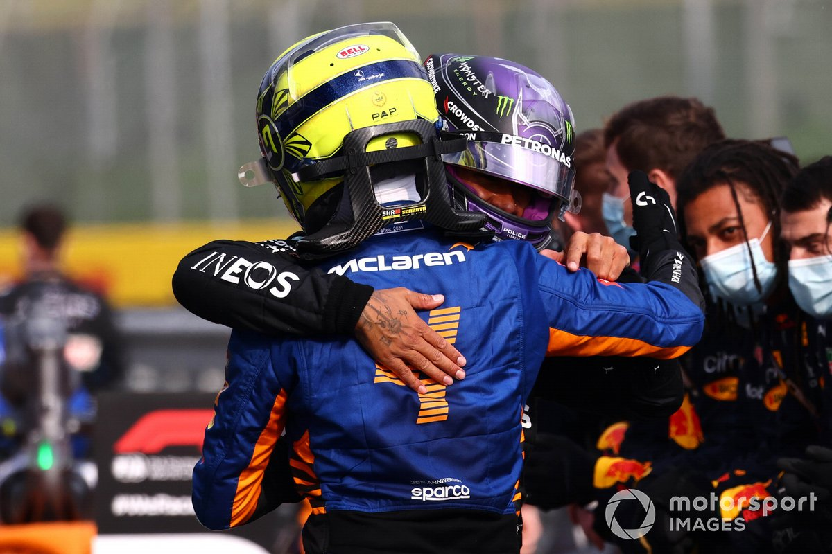 Lando Norris, McLaren, 3rd position, and Lewis Hamilton, Mercedes, 2nd position, congratulate each other after the race