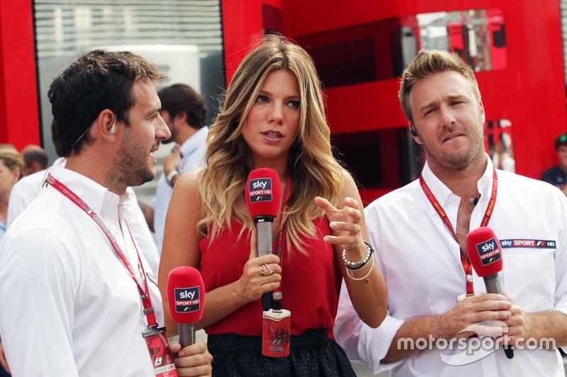 Federica Masolin, Sky F1 Italia Presenter (Centre) and Davide Valsecchi, Sky F1 Italia Presenter (Right)