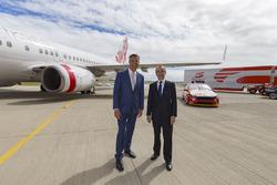 V8 Supercars CEO James Warburton with Virgin Australia Group CEO John Borghetti