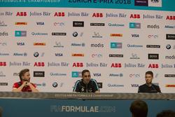 Nick Heidfeld, Mahindra Racing, Sébastien Buemi, Renault e.Dams, Edoardo Mortara, Venturi Formula E Team, in the press conference