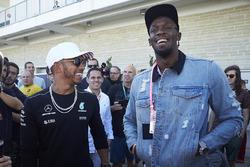 Lewis Hamilton, Mercedes AMG F1, meets Usain Bolt