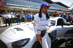 Fernando Alonso, McLaren, on the grid with the Safety Car