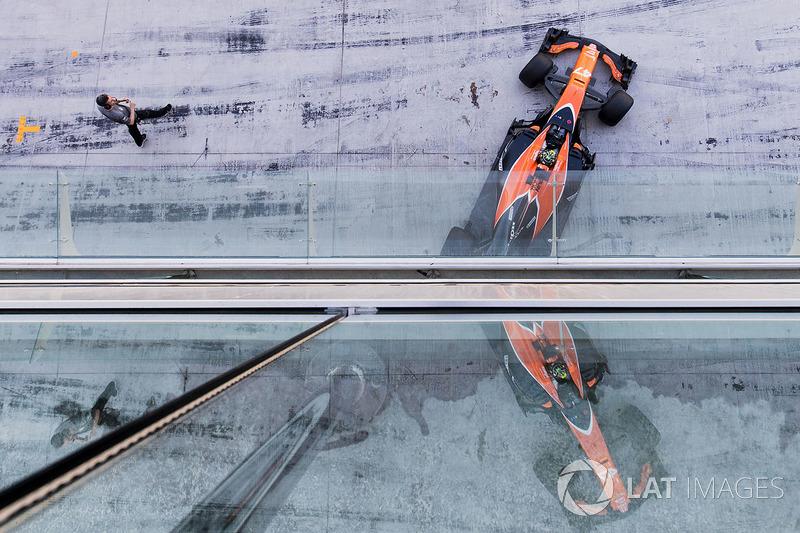 Lando Norris, McLaren MCL32, exits his pit garage
