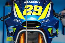 El frontal de la moto de Andrea Iannone, Team Suzuki MotoGP