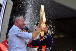 Jonathan Wheatley, Red Bull Racing Team Manager celebrates with the champagne on the podium