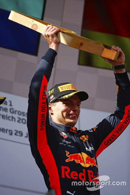 Max Verstappen, Red Bull Racing, holds a trophy aloft