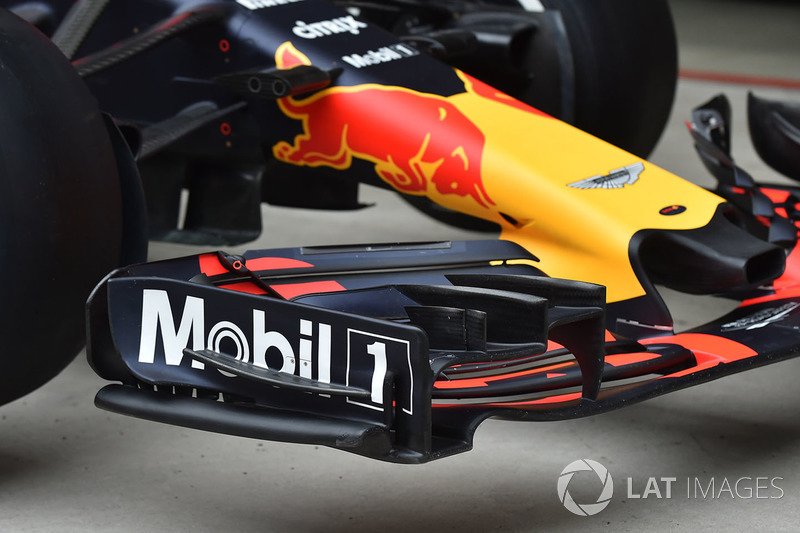 Detalle del ala frontal Red Bull Racing RB14