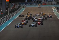 Lewis Hamilton, Mercedes F1 W07 Hybrid, leads Nico Rosberg, Mercedes F1 W07 Hybrid, Kimi Raikkonen,
