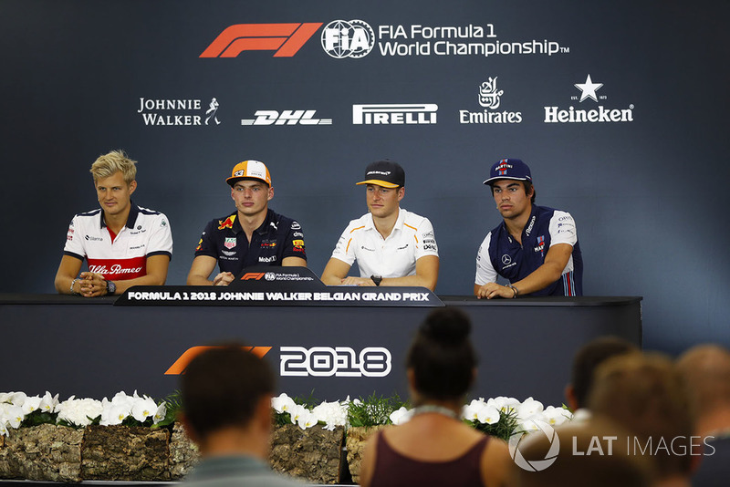 Marcus Ericsson, Sauber, Max Verstappen, Red Bull Racing, Stoffel Vandoorne, McLaren, and Lance Stroll, Williams Racing, in the Thursday press conference