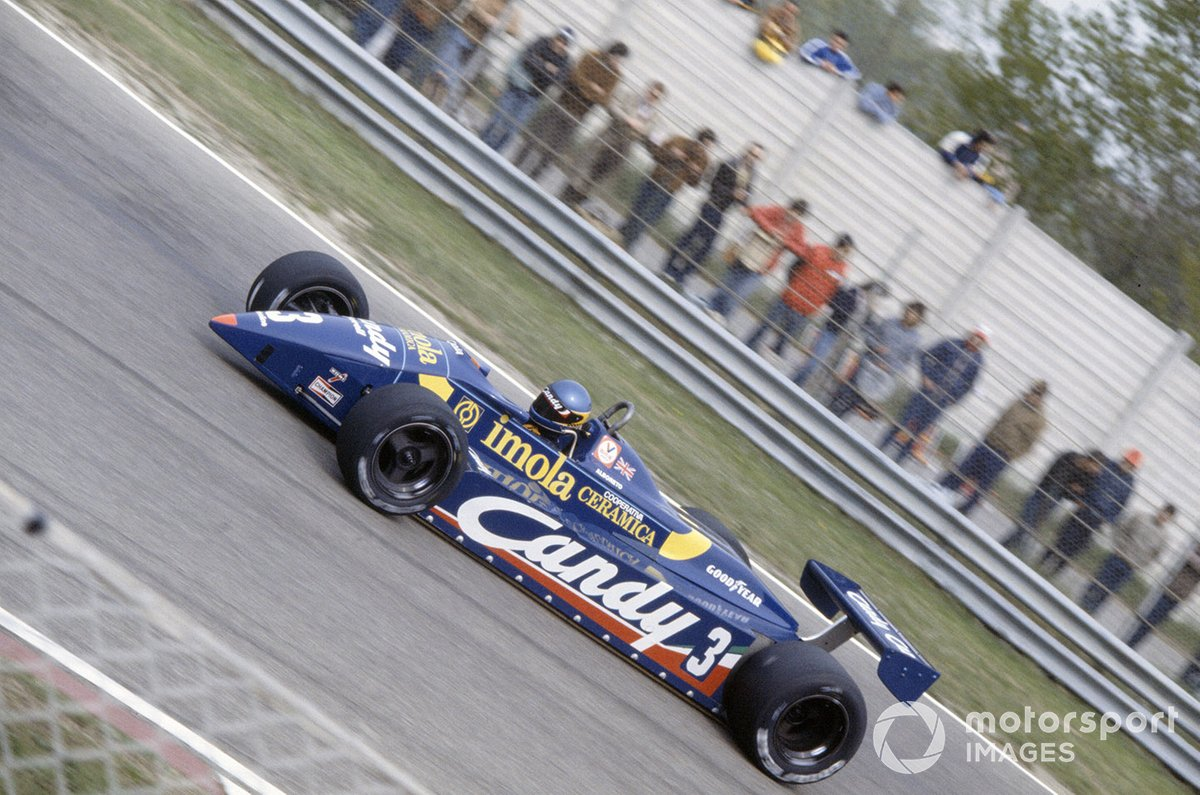 Albo's first podium finish came in the 1982 San Marino GP driving the Tyrrell 011.