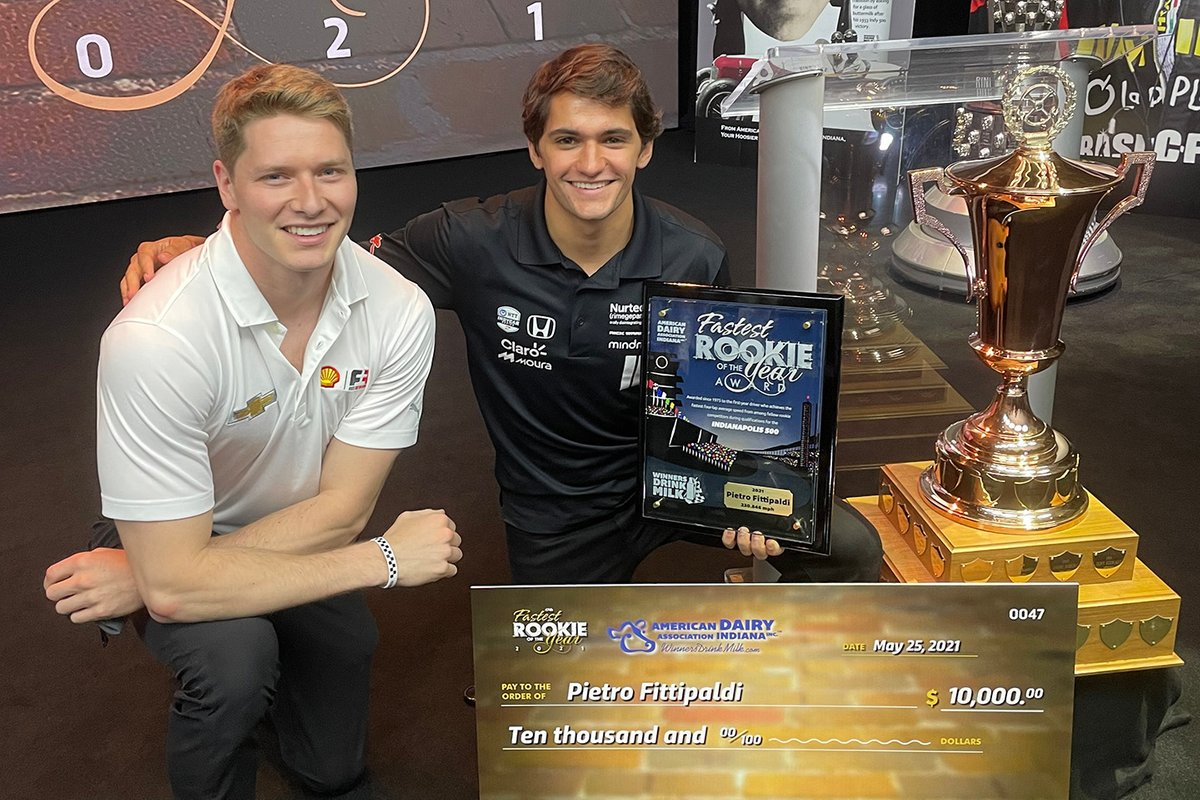 Pietro Fittipaldi, Dale Coyne Racing with RWR Honda presented with the Indy 500 Fastest Rookie Award by Josef Newgarden, 2012 winner of the accolade.