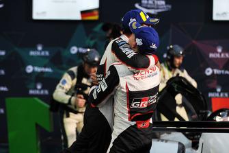 Podium LMP1: winners Mike Conway, Kamui Kobayashi, Jose Maria Lopez, Toyota Gazoo Racing