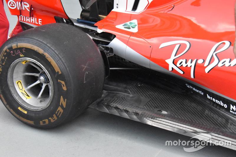 Detalle del fondo plano del Ferrari SF71H