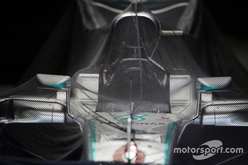 Mercedes AMG F1 W07 Hybrid of Nico Rosberg, in parc ferme conditions