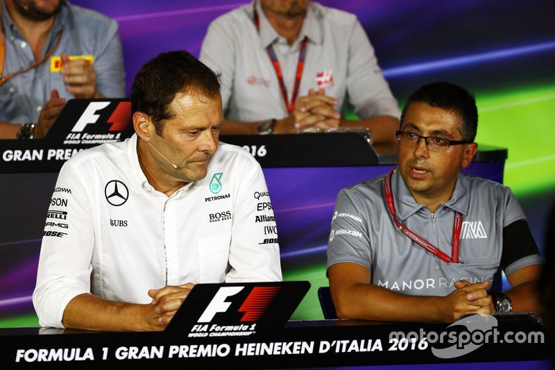 (L to R): Aldo Costa, Mercedes AMG F1 Engineering Director with Luca Furbatto, Manor Racing Head of