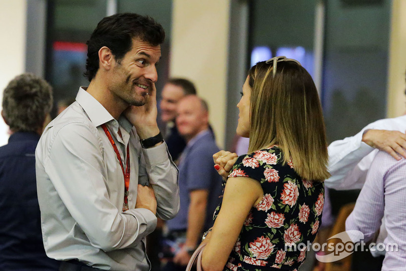 Mark Webber, presentador de canal 4 con Natalie Pinkham, presentador de SkySports