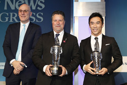 BorgWarner President and CEO James Verrier with Michael Andretti and 2017 Indy 500 winner Takuma Sato