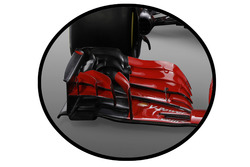 Ferrari SF71H, detalle del alerón delantero