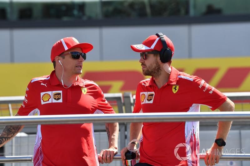 Kimi Raikkonen, Ferrari and Sebastian Vettel, Ferrari on the drivers parade