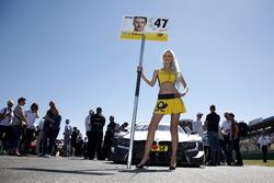 Grid girl of Joel Eriksson, BMW Team RBM, BMW M4 DTM