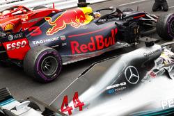 Second place Sebastian Vettel, Ferrari SF71H, Race winner Daniel Ricciardo, Red Bull Racing RB14, third place Lewis Hamilton, Mercedes AMG F1 W09, arrives in Parc Ferme