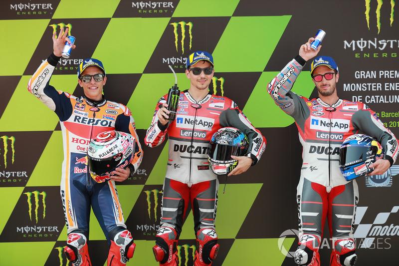 Top 3 en clasificación: Marc Marquez, Repsol Honda Team, Jorge Lorenzo, Ducati Team, Andrea Dovizioso, Ducati Team