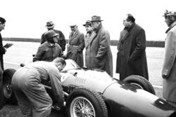 Ferrari 246 F1 testing at Modena with Martino Severi, Enzo Ferrari, Luigi Bazzi and Carlo Chiti