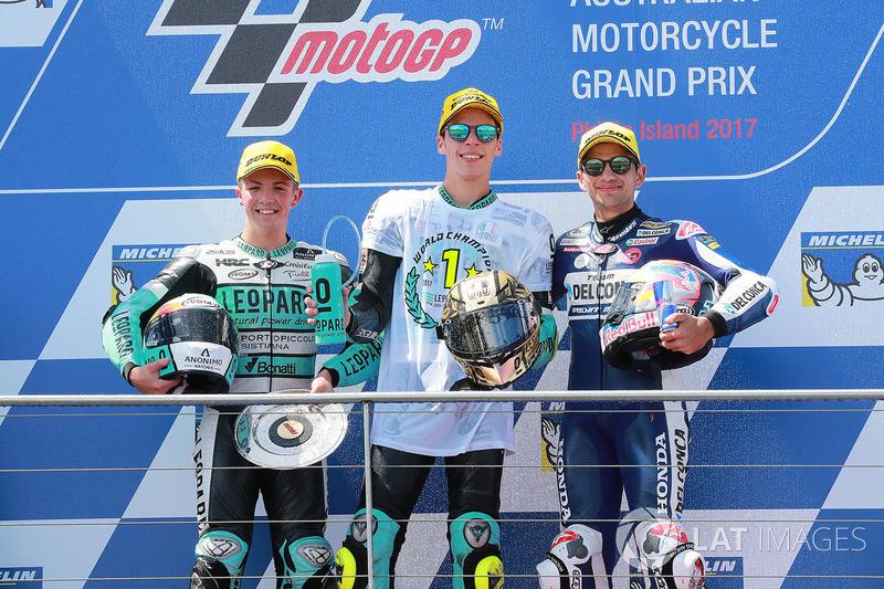 Ganador de la carrera Joan Mir, Leopard Racing, segundo lugar Livio Loi, Leopard Racing, tercer lugar Jorge Martin, Del Conca Gresini Racing Moto3