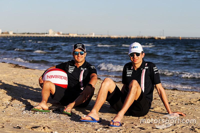 Естебан Окон, Force India, Серхіо Перес, Force India на пляжі