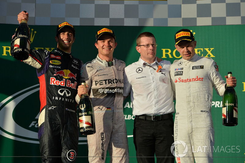 2014: 1. Nico Rosberg, 2. Kevin Magnussen, 3. Jenson Button