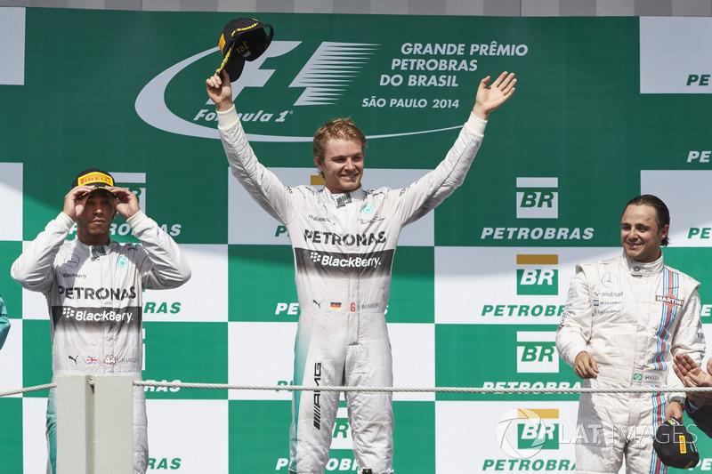 Podium : Lewis Hamilton, Nico Rosberg et Felipe Massa