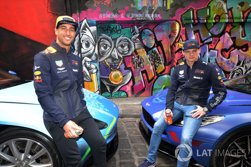 Daniel Ricciardo, Red Bull Racing and Max Verstappen, Red Bull Racing with the street art styled Aston Martin DB11 in Hosier Lane