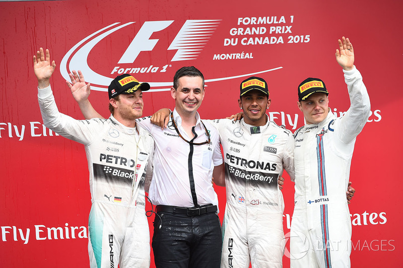 Podium: race winner Lewis Hamilton, Mercedes AMG F1, second place Nico Rosberg, Mercedes AMG F1, Riccardo Mosconi,) Mercedes AMG F1 Data Engineer, third place Valtteri Bottas, Williams