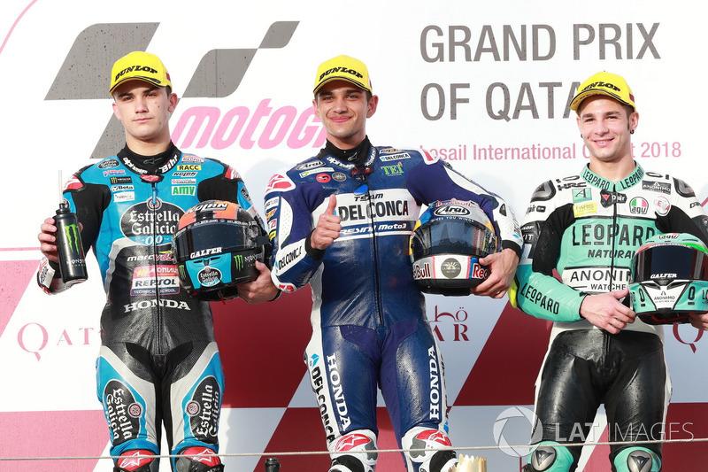 Podium: segundo, Aron Canet, Estrella Galicia 0,0, ganador, Jorge Martin, Del Conca Gresini Racing Moto3 tercero, Lorenzo Dalla Porta, Leopard Racing