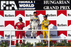 Podium: race winner Nelson Piquet,Williams, second place Alain Prost, McLaren and third place Ayrton Senna, Lotus