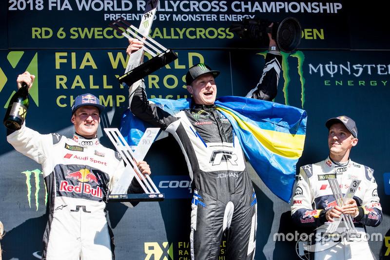 Podium: Winner Johan Kristoffersson, PSRX Volkswagen Sweden, second place Andreas Bakkerud, EKS Audi Sport, third place Mattias Ekström, EKS Audi Sport