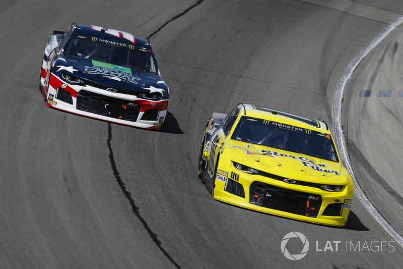 Landon Cassill, StarCom Racing, Chevrolet Camaro and B.J. McLeod, Rick Ware Racing, Ford Fusion