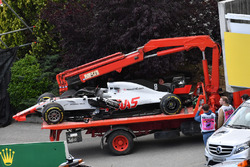 The crashed car of race retiree Romain Grosjean, Haas F1 Team VF-18