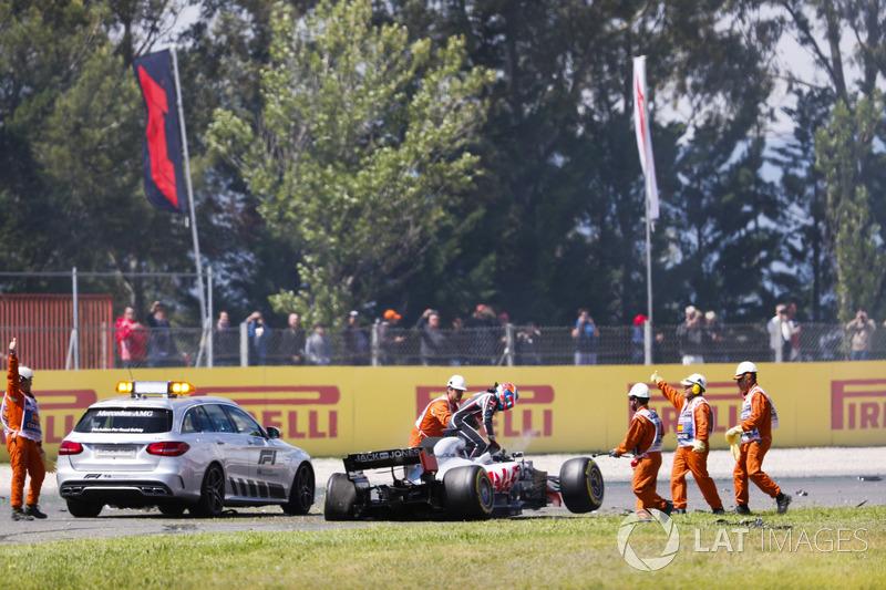 Romain Grosjean, Haas F1 Team VF-18 setelah kecelakaan