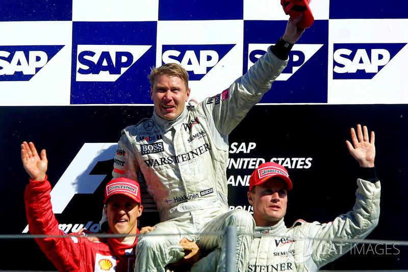 2001 : 1. Mika Häkkinen, 2. Michael Schumacher, 3. David Coulthard