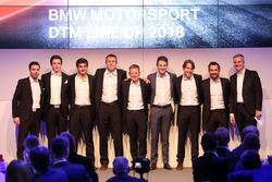Line-up 2018: Philipp Eng, Joel Eriksson,, Bruno Spengler, Bart Mampaey, Stefan Reinhold, teambaas BMW Team RMG, Maro Wittmann, Augusto Farfus, Timo Glock, Jens Marquardt, directeur BMW Motorsport