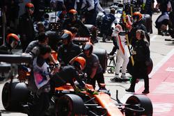 Stoffel Vandoorne, McLaren, sale de su coche Fernando Alonso, McLaren MCL32, Lance Stroll, Williams FW40, Felipe Massa, Williams FW40 al llegar