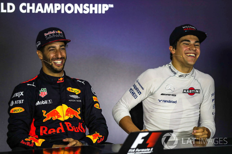 1. Daniel Ricciardo, Red Bull Racing, Lance Stroll, Williams