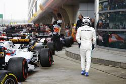 Valtteri Bottas, Mercedes AMG, arrives in parc ferme